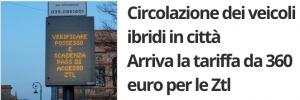 Circolazione libera per i veicoli ibridi od elettrici nelle ZTL di Bergamo